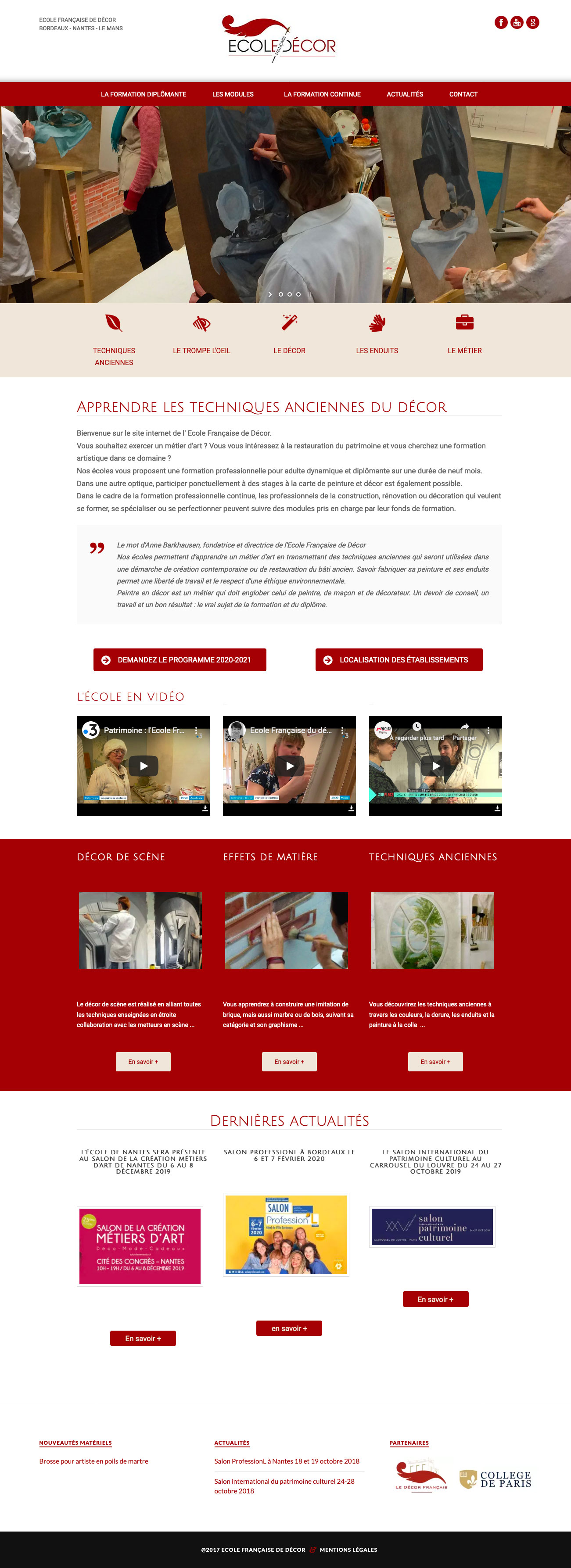 Site Internet Ecole Française de Décor