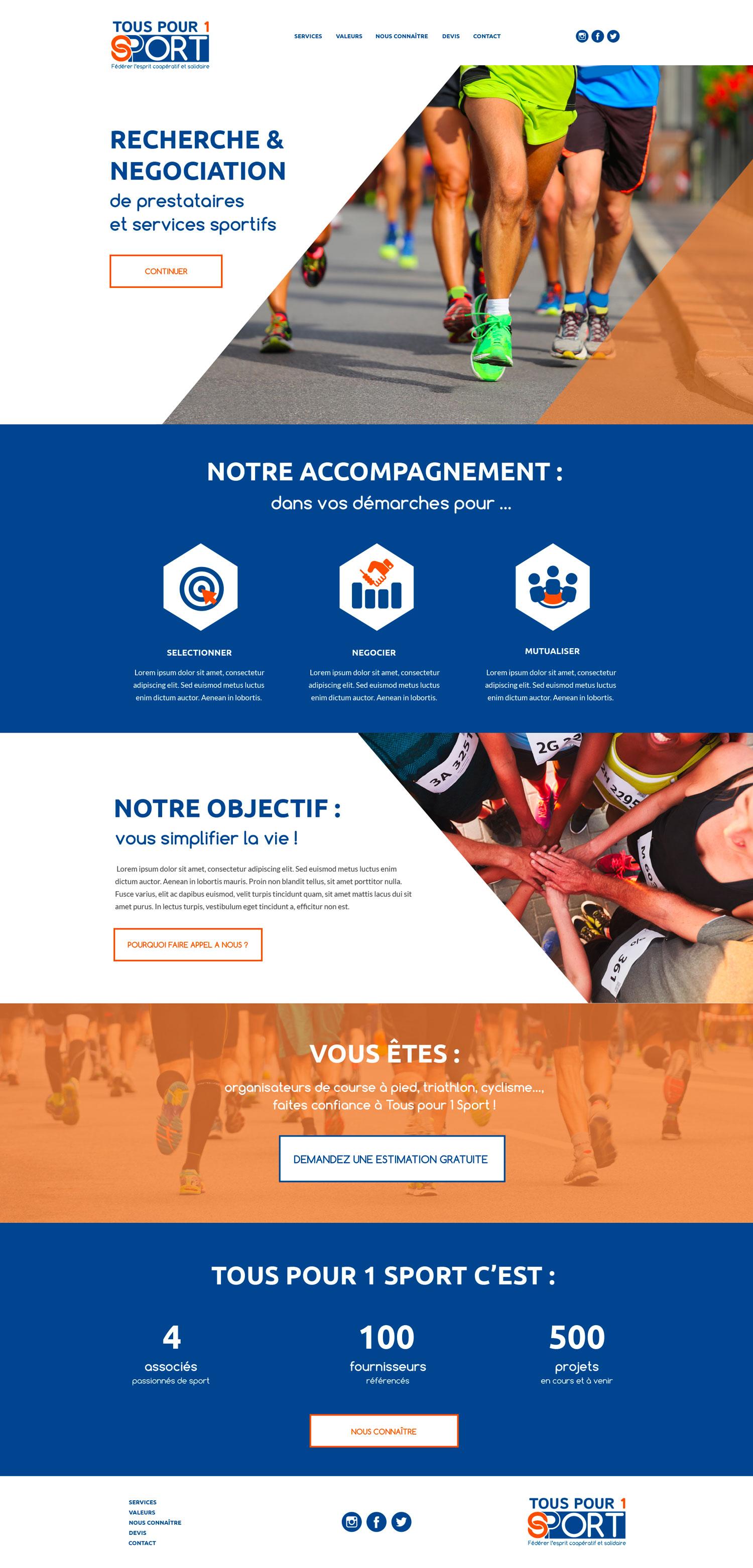 site Internet Tous pour 1 Sport